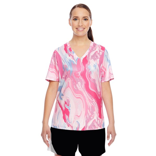 -sleeve Women's V-neck All Sport Sublimated Pink Swirl Jersey Sport Pink Swirl Short