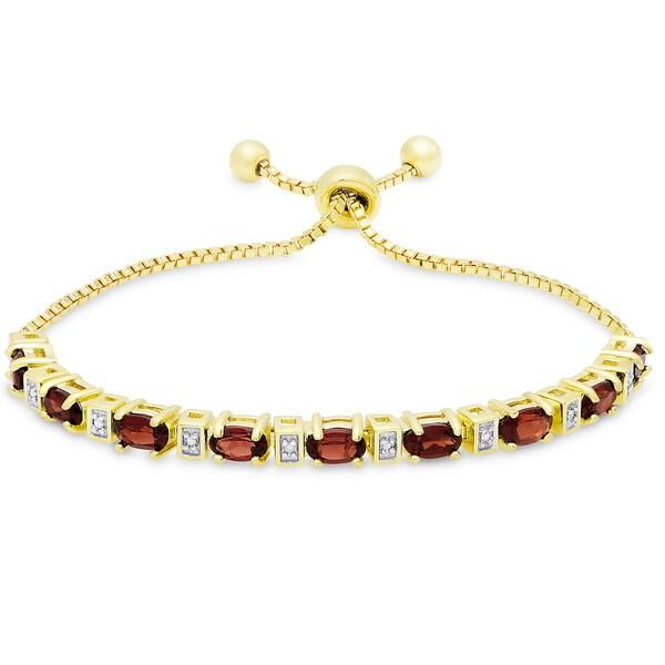 Dolce Giavonna Gold Overlay Garnet and Diamond Accent Adjustable Slider Bracelet 19725356