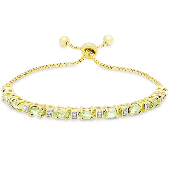 Dolce Giavonna Gold Overlay Peridot and Diamond Accent Adjustable Slider Bracelet 19725362