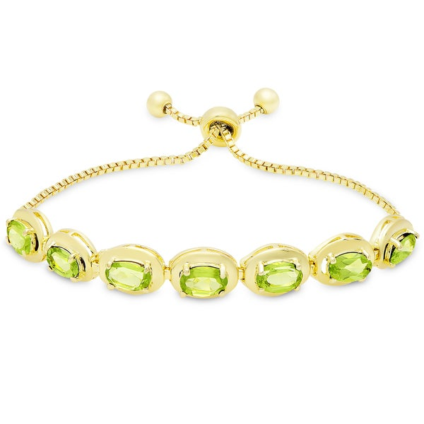 Dolce Giavonna Gold Overlay Peridot Oval Adjustable Slider Bracelet 19725369