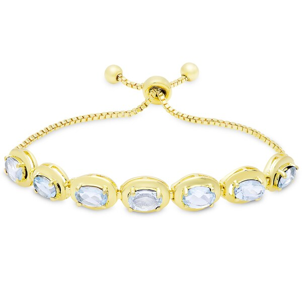Dolce Giavonna Gold Overlay Blue Topaz Oval Adjustable Slider Bracelet