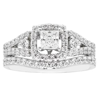 Boston Bay Diamonds 14k White Gold 3/8ct TDW Diamond Princess-cut Halo Split Shank Bridal Set