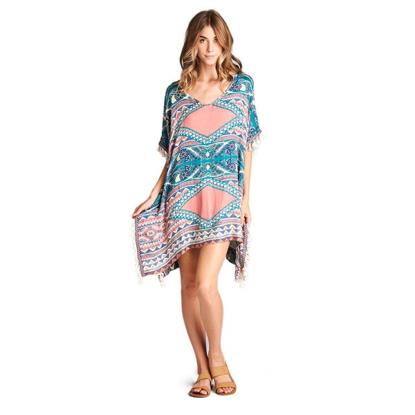 Orange Creek PomPom Tassel Printed Tunic Dress