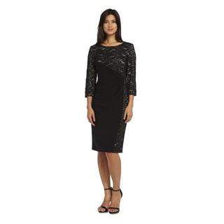 R & M Richards Women's Black/Purple Lace Short Dress