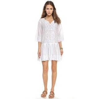PilyQ Women's Cristina White 3/4-sleeve Cover-up Dress