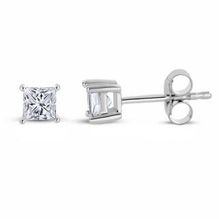 Montebello Jewelry 14k White Gold 1/3ct TDW Princess-cut White Diamond Stud Earrings (H-I, I1-I2)