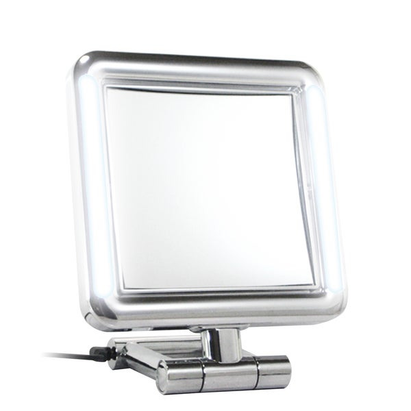 Rucci Chrome 7x/1x Magnification LED Lighted Square Stand Mirror