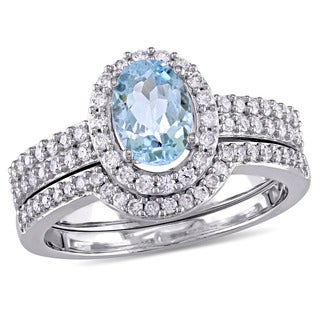 Miadora Signature Collection 10k White Gold Oval-cut Aquamarine and 1/2ct TDW Diamond Halo Bridal Ring Set (G-H, I1-I2)