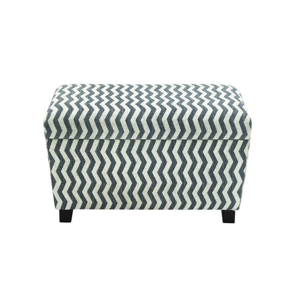 Grey/Dark Espresso Fabric/Wood 32-inch and 28-inch Fabric Storage Ottomans (Set of 2)