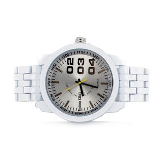 Faddism Men's Round Brushed Aluminum Face with Numerical Design Watch