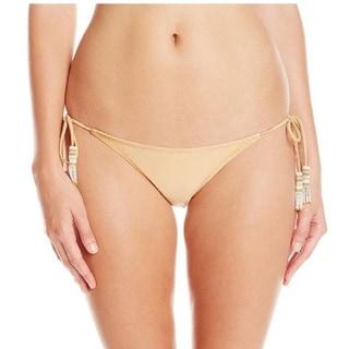 Pilyq Gold Polyester Lux Teeny Bikini Bottom