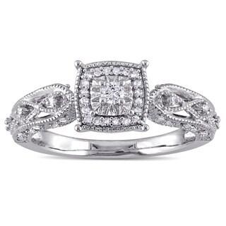 Miadora Sterling Silver 1/5ct TDW Diamond Vintage Halo Engagement Ring (G-H, I2-I3)