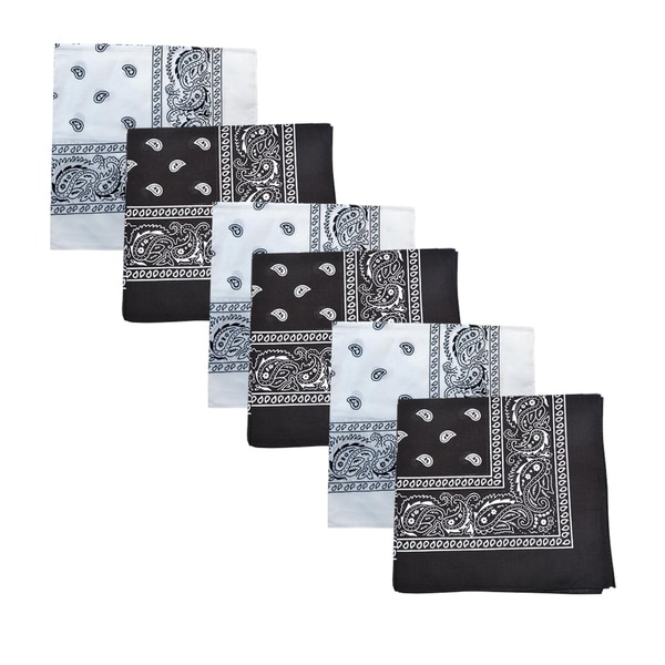 Mechaly Black and White Paisley Cotton Bandanas (6-pack)