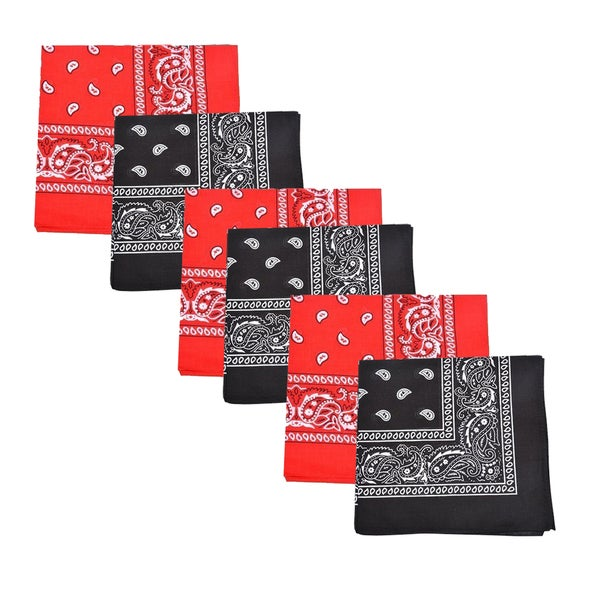 Mechaly Black and Red Paisley 100-percent Cotton Bandanas (Pack of 6)