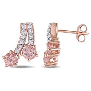 Miadora 10k Rose Gold Morganite and 1/5ct TDW Diamond Shooting Stars Earrings (G-H, I2-I3)