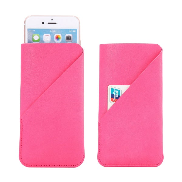 Sophia Pocket Pink Soft Leather Easy Slip-on Pouch With 5-inch Display Size