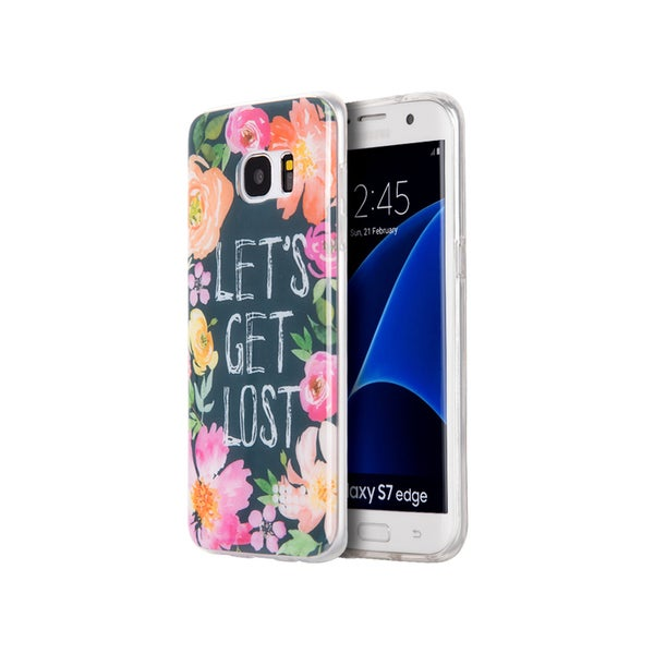 Samsung Galaxy S7 Edge Plastic Black/Multicolored Water Color Case