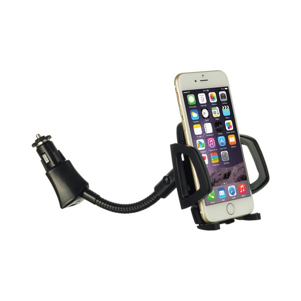 Universal Car Black Phone Holder with Cigarette Lighter Adapter