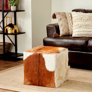 Wood Leather Hide 18-inches Wide x 17-inches High Ottoman