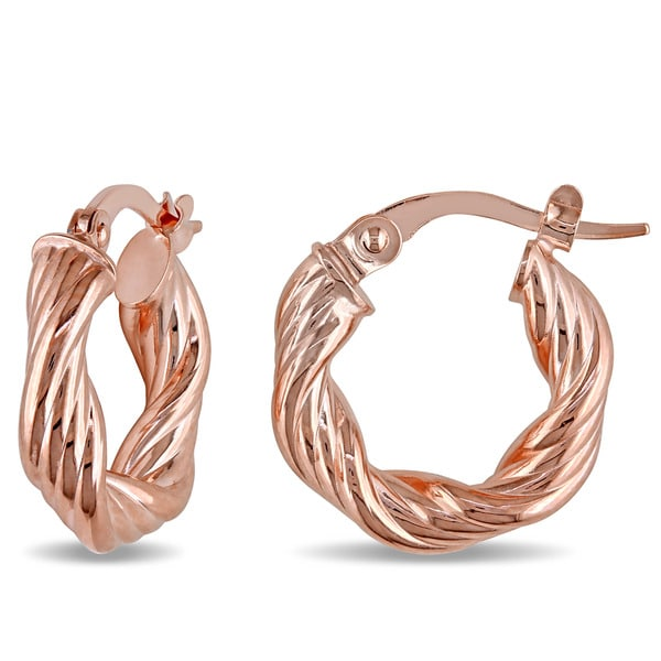 Miadora 10k Rose Gold Twisted Hoop Earrings