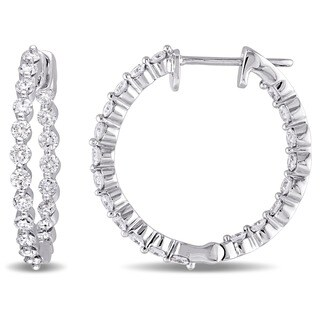 Miadora Signature Collection 14k White Gold 1 1/5ct TDW Diamond Inside Outside Hinged Hoop Earrings (G-H, SI1-SI2)