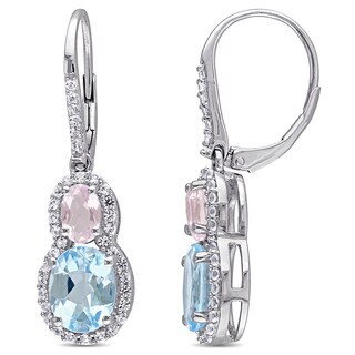 Miadora Sterling Silver Oval-cut Sky Blue Topaz White Topaz and Rose Quartz Tiered Halo Leverback Earrings