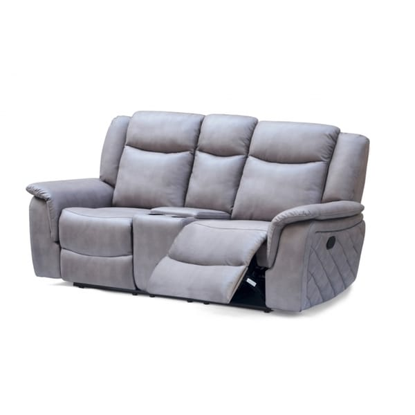 Meridian Carly Grey Leather Loveseat