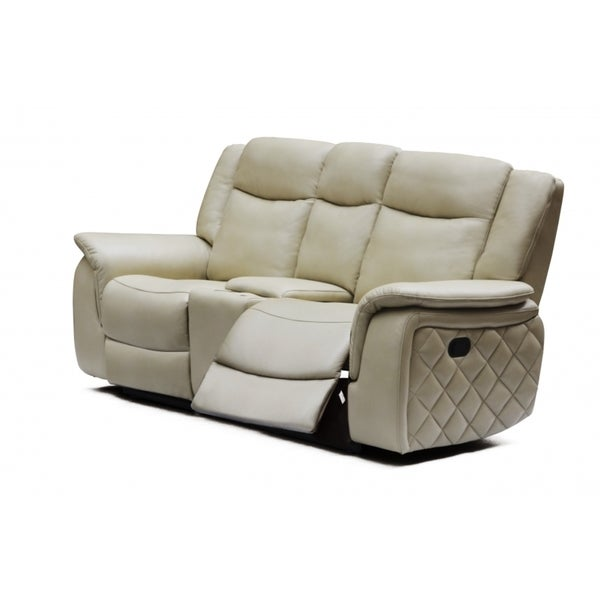 Meridian Carly Taupe Leather Loveseat