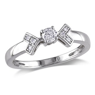 Miadora 10k White Gold 1/5ct TDW Diamond Engagement Ring (G-H, I2-I3)