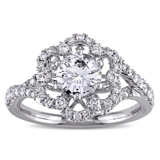 Miadora Signature Collection 14k White Gold White Sapphire and 3/8ct TDW Diamond Flower Engagement Ring (G-H, SI1-SI2)
