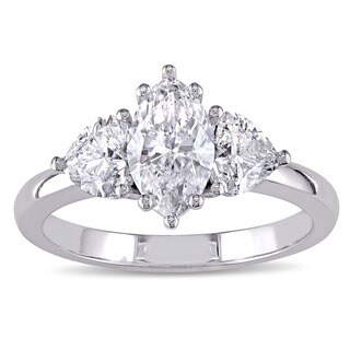 Miadora Signature Collection 18k White Gold 1 7/8ct TDW Certified Marquise and Heart-Cut Diamond Bridal Ring (G-H, SI1-SI2)(IGI)