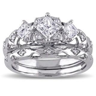 Miadora Signature Collection 14k White Gold 1ct TDW Princess-Cut 3-Stone Vintage Bridal Ring Set (G-H, I1-I2)