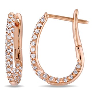 Miadora 10k Rose Gold 1/2ct TDW Diamond Hinged Hoop Earrings (G-H, I2-I3)