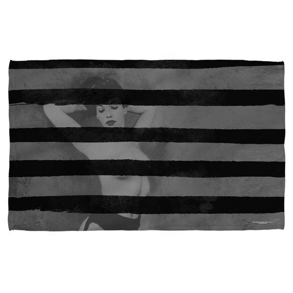 Bettie Page/Black Stripes Bath Towel