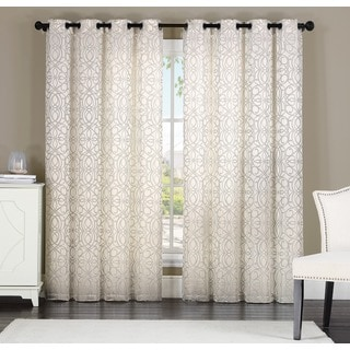Keegan by Artistic Linen 8-grommet Jacquard Window Curtain Panel Pair