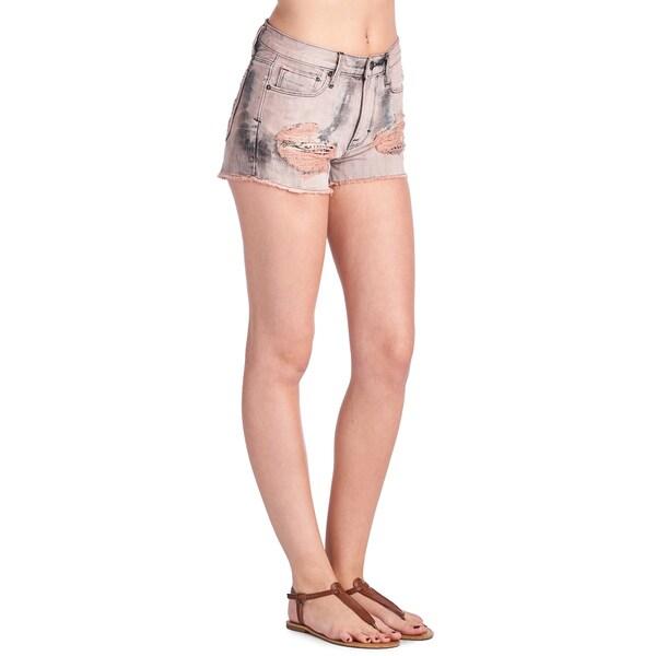 Cult of Individuality Women's Rockability Pink Tie-dye Denim Shorts