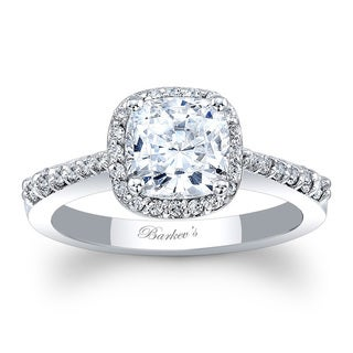 Barkev's Designer 14k White Gold 1 1/10ct TDW Cushion Halo Engagement Ring (F-G, SI1-SI2)