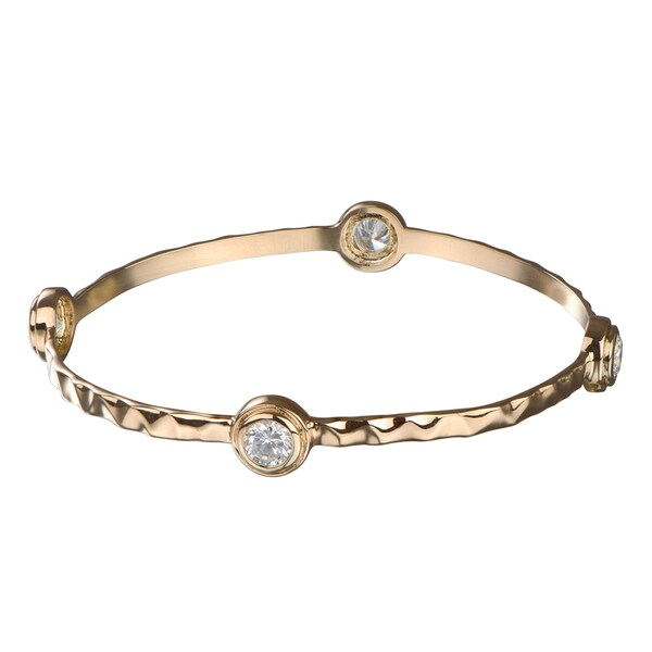 CZ & Hammered Metal Bangle Bracelet