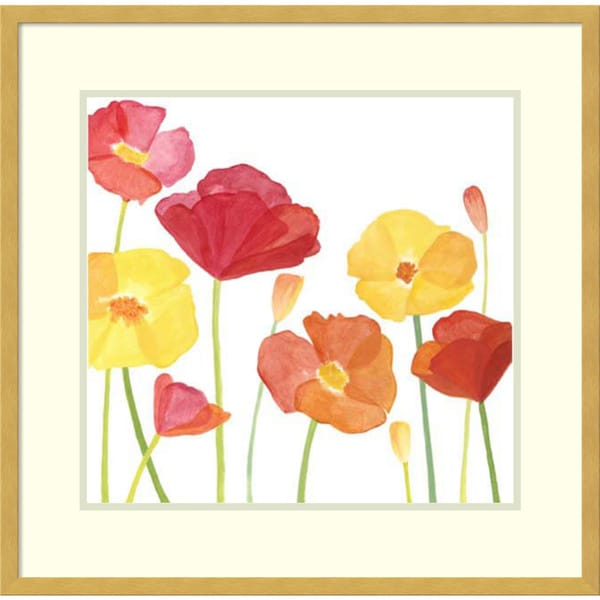Framed Art Print 'Simply Poppies I' by Megan Meagher 25 x 23-inch