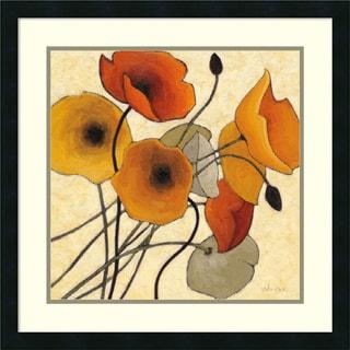 Framed Art Print 'Pumpkin Poppies II' by Shirley Novak 25 x 25-inch