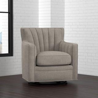 Portfolio Zahara Dove Grey Linen Swivel Arm Chair