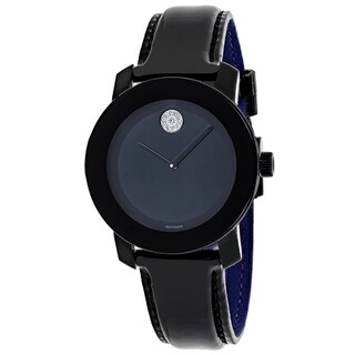 Movado Women's 3600353 Bold Round Black Dial Leather Strap Watch