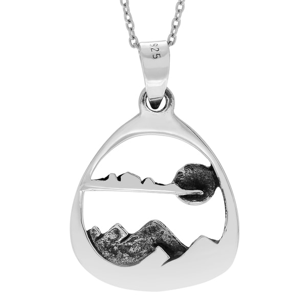Journee Collection Sterling Silver Mountain Scene Pendant