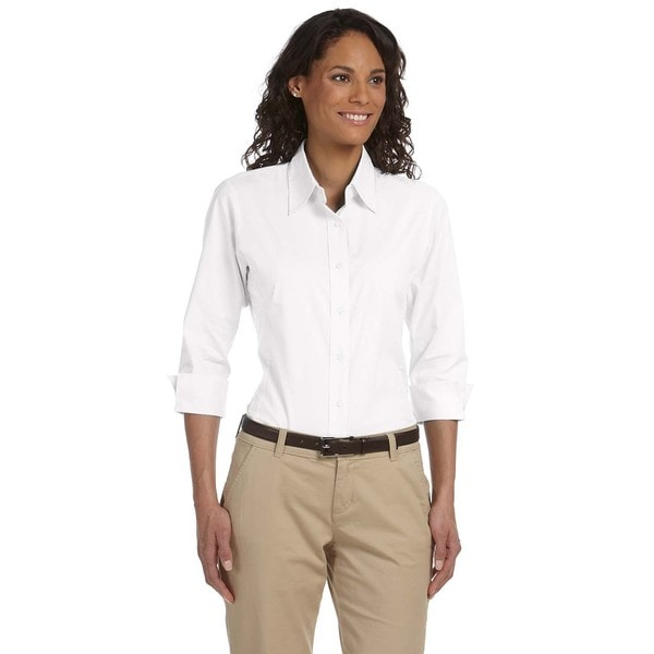 Women's White Stretch Poplin 3/4-sleeve Blouse