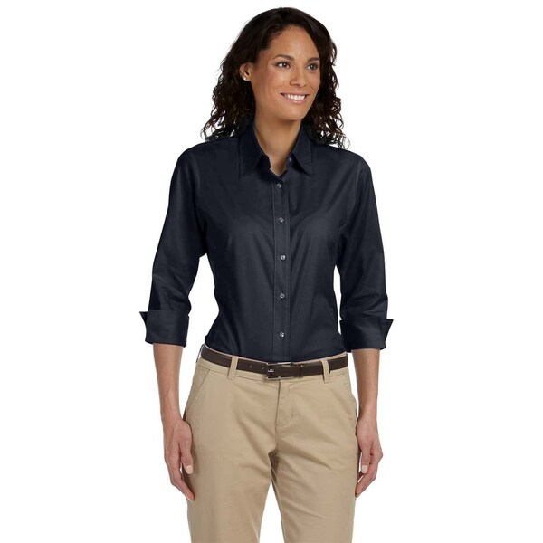 Navy Three-Quarter Sleeve Women's Stretch Poplin Blouse