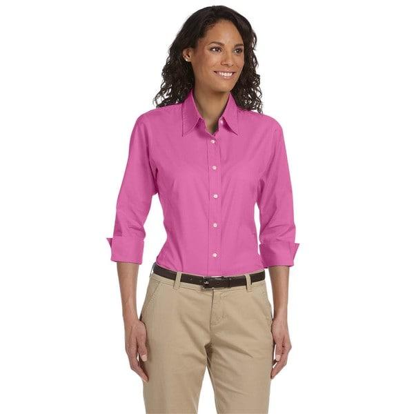 Womens Cotton/Spandex Pink Stretch Poplin Blouse