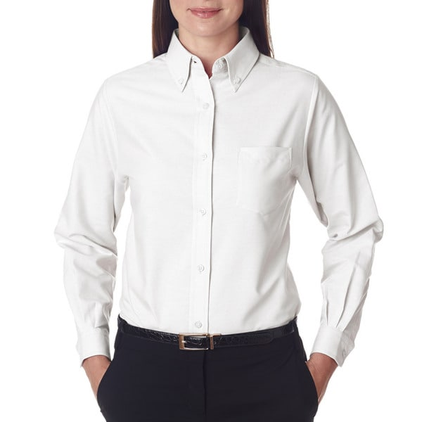 Classic Women's White Wrinkle-Free Long-Sleeve Oxford