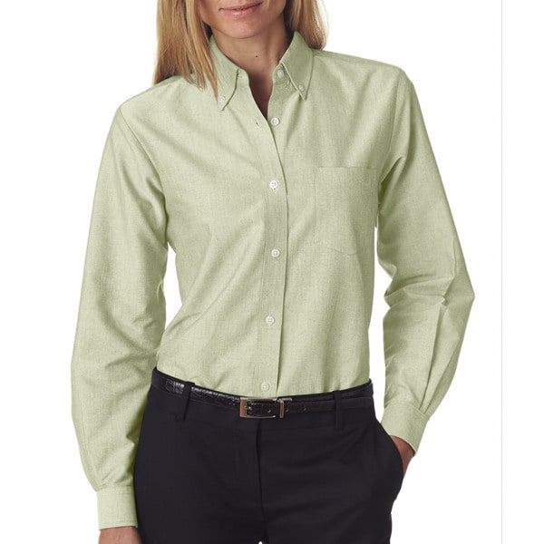 Women's Lime Classic Wrinkle-Free Long-Sleeve Oxford