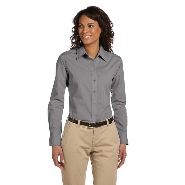 Women's Essential Dark Grey Polyester/Cotton Poplin Shirt