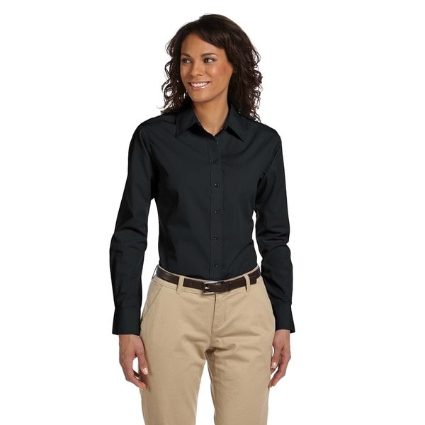 Essential Poplin Women's Black Cotton-blended Top